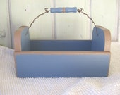 CLEARANCE SALE  Wood Caddy Blue and Brown Woodworking Carryall Home Decor Organizer Holder