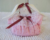 Bunny Petite Shelf Sitter Light and Dark Pink Print with Lace and Burgundy Ribbons Valentine's Day