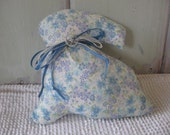CLEARANCE SALE Bunny Print Stuffed Accent Pillow Blue and Lavender Variety with Blue Ribbon and Lace Home Decor