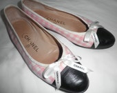 RESERVED for Rozypal CHANEL BALLET Spring Flats/ Pumps Shoes Gingham Pink Black/ White w/ Chanel Satin Bow Size 8 / 38 Made in Italy Vintage