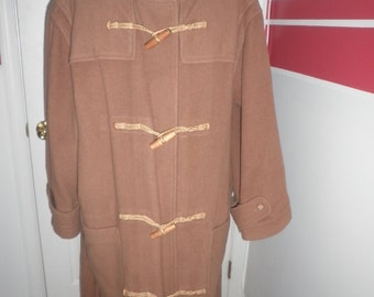 Vintage RALPH LAUREN Beige Long-Hooded Coat Wool w/ Toggles Size 10 or Large Made in USA Authentic