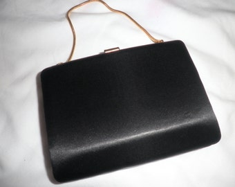 Black Satin Evening Case Purse BAG with Gold Hardware. VINTAGE Versatile