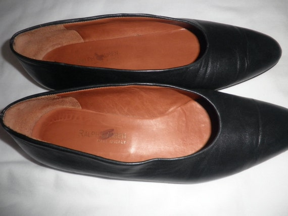 Pre-owned RALPH LAUREN Black Leather Shoes Vintage Flats/Pump Size 8AA Made in Italy