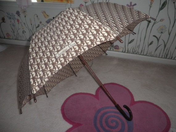 Vintage CHRISTIAN DIOR UMBRELLA Brown Monogram Jacquard  Design Made in France