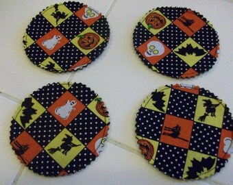 Checkered Fabric Halloween Coasters