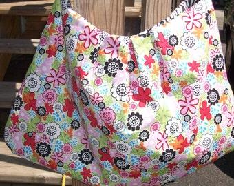 Floral and Zebra Print Hobo Bag