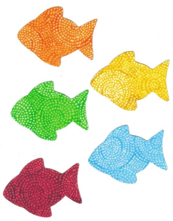 Rainbow fish fabric iron on appliques by sewcutegiftsandmore for Rainbow fish fabric
