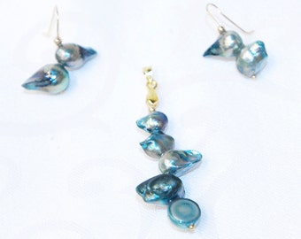 j1509 - AB blue freshwater pearl pendant and earring set