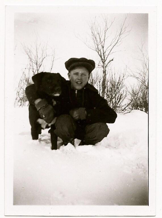 snow friends - vintage photo