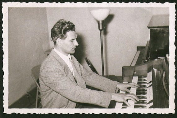 portrait of the organ player - vintage photo