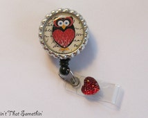 Red and Black Owl Retractable Badge Reel - Owl Retractable Badge Reel - Cute Badge Clips - Designer Badge Reels - Gifts Under 10