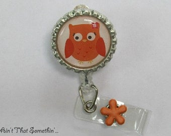 Orange Hoot-Owl Retractable Badge Reel - Owl Badge Reels - Cute Badge Clips - Fun ID Holders - Gifts Under 10 - Badge Reel Gifts - Unique ID