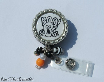Ghostly Halloween Boo Retractable Badge Reel - Halloween Badge Reels - Holiday Badge Clips - Fun ID Holders - Designer Badge Reels - ID Fun
