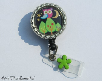 Nite Time Hoot Owl in Brites Retractable Badge Reel - Owl Badge Reels - Night Owl Badge Clips - Fun ID Holder - Gifts Under 10 - Cute IDs