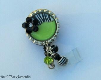 Brite Green or Pink w/Zebra Print Funky Retractable Badge Reel - Zebra Badge Reel - Diva Badge Reels - Fun Badge Clips - Designer ID Reels