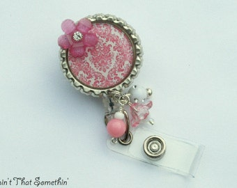 White with Pink Damask - Retractable Badge Reel - Classic Badge Clip - Beautiful ID Pulls - Designer Badge Holders - Beaded Badge Reels