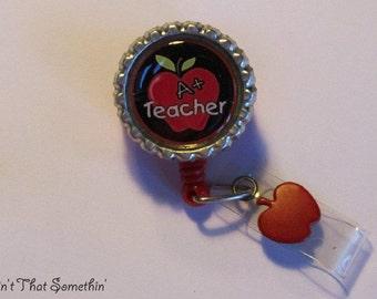 Give the Teacher an A Retractable Badge Reel - Teacher Badge Reels - School ID Holders - Apple Badge Clips - Cute ID Reels - Teacher Gifts