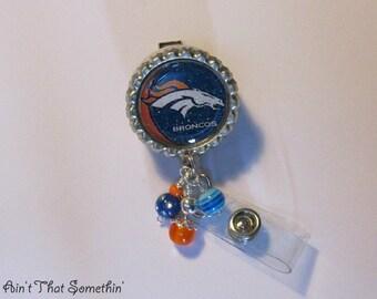 Denver Broncos Inspired Retractable Badge Reel - Football Badge Reels - Badge Reel Gifts - Sports Badge Clips - Fun ID Holders - ID Badge