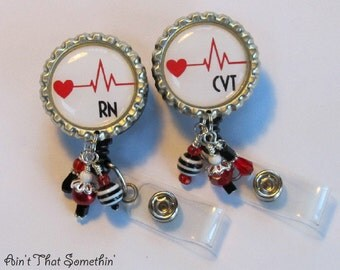 CVT or RN Cardiac Care Retractable Badge Reel w/Beads