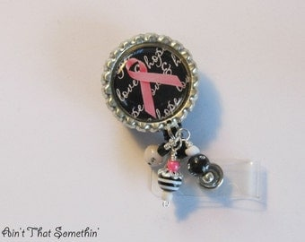Breast Cancer Awareness Retractable Badge Reel - Awareness Badge Clips - Breast Cancer ID Pulls - Designer Badge Reels - Professional IDs