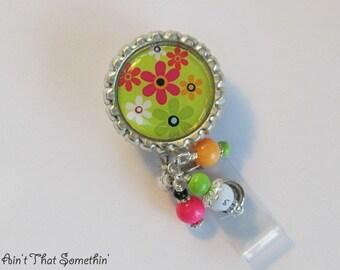 Spring Green with Flower Sprinkles Retractable Badge Reel - Flower Badge Reels - Beaded ID Holders - Badge Reel Gifts - Pretty Badge Pulls