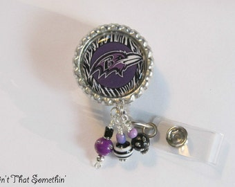 Ravens Inspired Retractable Badge Reel with Bead Bundle - Football Badge Clip - Sports ID Pull - Team Badge Reels - Badge Reel Gifts