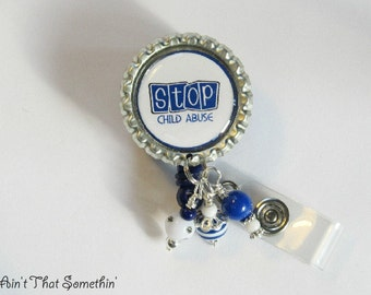 Stop Child Abuse Retractable Badge Reel - Awareness Badge Clips - Cause ID Reels - Designer Badge Holders - Nurse Gifts - Teacher Gifts