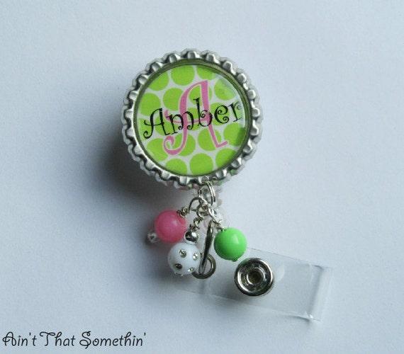 Personalized Green Polka Dot 'N Pink Retractable Badge Reel