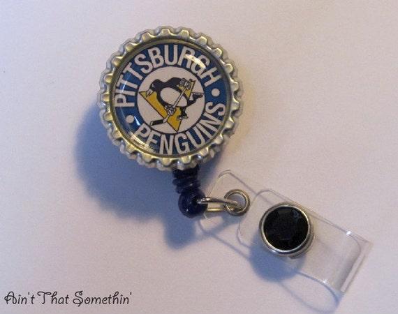 Pittsburgh Penguins Inspired Retractable Badge Reel - Hockey Badge Reel - Fun ID Holders - Sports Badge Reels - Gifts Under 10