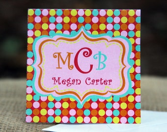 Square Orange, Pink, Blue and Yellow Monogramed Gift Enclosure Cards with Envelopes