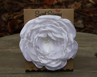 34 Colors Large Satin Flower Pin, White Satin Flower Pin