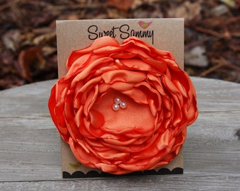 34 Colors Large Satin Flower Pin, Orange Satin Flower Pin