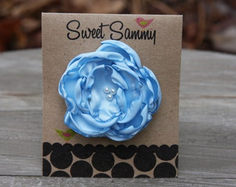 30 Colors Small Satin Flower Hair Clip, Light Blue Flower Hair Clip