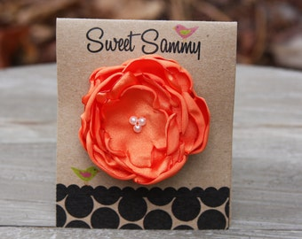 30 Colors Small Satin Flower Hair Clip, Orange Flower Hair Clip