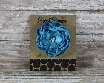 30 Colors Small Satin Flower Hair Clip, Turquoise Flower Hair Clip