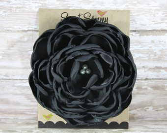 30 Colors Large Satin Flower Pin, Large Black Satin Flower Pin