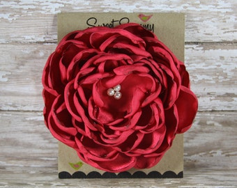 30 Colors Large Satin Flower Pin, Red Satin Flower Pin