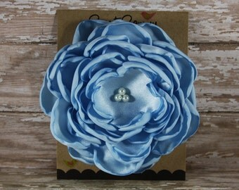 30 Colors Large Satin Flower Pin, Light Blue Satin Flower Pin