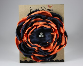 Large Orange and Navy Auburn Satin Flower Pin