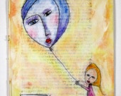Girl, balloon, Original Art painting on a book page