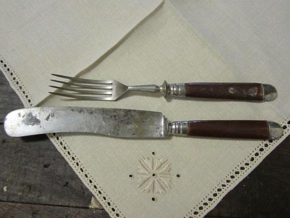 Solingen Bakelite Fork and Knife World War II marked D.R.G.M.