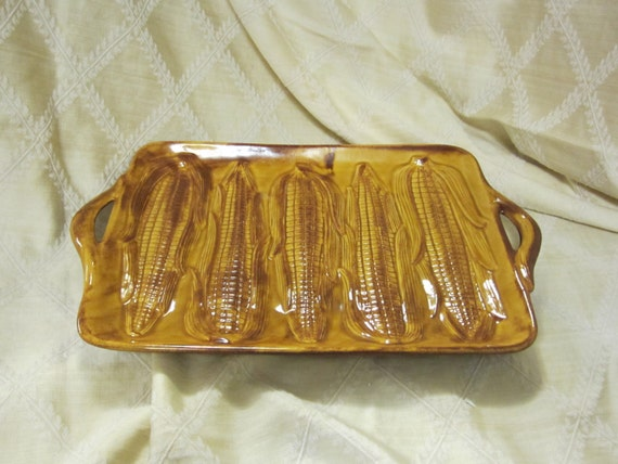 Rectangle Tray with Raised Ears of Corn on the Cob by California USA Pottery C 2 in Colors of Yellow and Brown