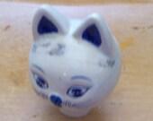 Blue Delph Porcelain Ceramic Cat Head Vintage Supply
