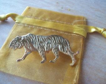 vintage Re-worked broach Goldtone Tiger.