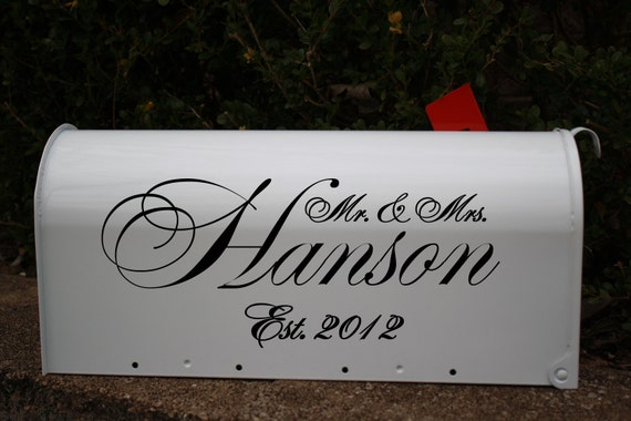 Personalized Mailbox DECAL- Wedding Gift card holder