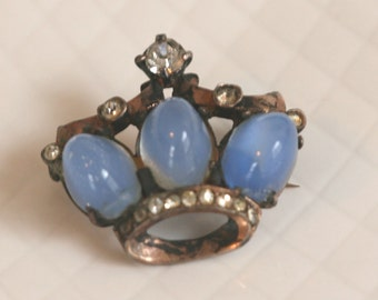 CROWN Pin Brooch with Moonglow Cabachon and Rhinestone Gold Wash  // Vintage Estate Jewelry // fruitsdesbois