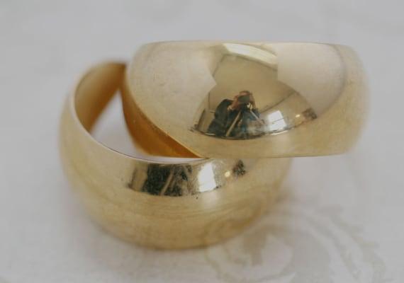 Vintage MONET Big Gold Hoop Pierced Earrings