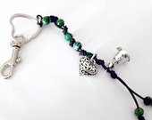 Key Chain Black Leather Green Gemstone Silver Heart Bling Bell Charm Clasp Purse
