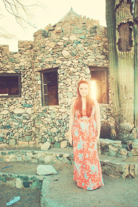 Coral Orange Floral Maxi Dress Summer Halter