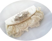 TIFFANY - Romantic Vintage Inspired Lace Satin Rhinestone Crystals Ivory Bridal Clutch